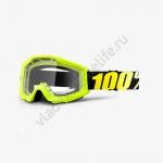 Очки для мотокросса 100% Strata Neon Yellow с прозрачной линзой