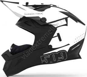 Шлем Карбоновый 509 Altitude Carbon White Trace С Застежкой Fidlock 509-HEL-ACW8